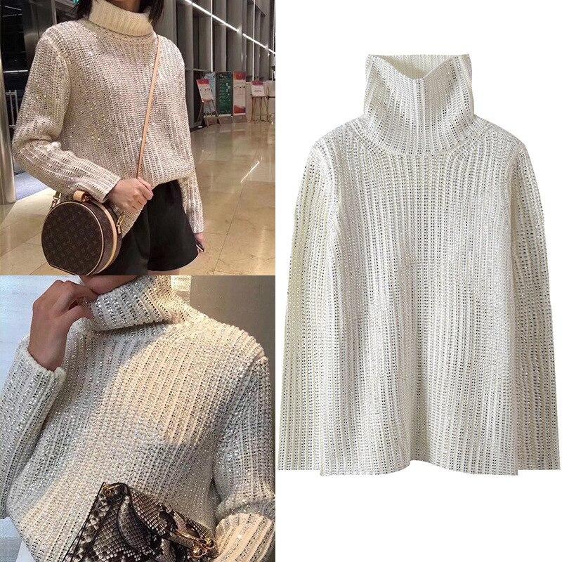 Nuevos productos en Europa y la pasarela se ve temperamento cuello alto con diamante muestra Delgado suéter de punto joker Mujer