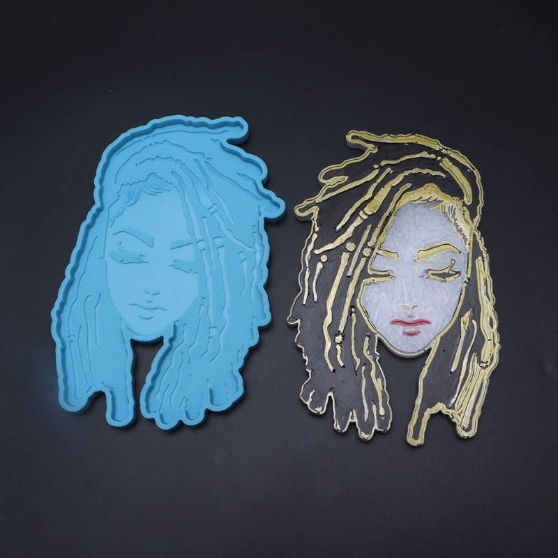2 Pcs/Set Goddess Coaster Epoxy Resin Mold Tray Cup Mat Casting Silicone Mould DIY Crafts Placemat Home Decorations Tool