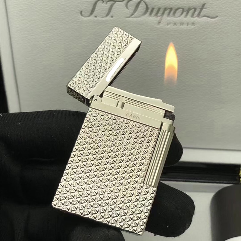 100% new vintage dupont gas lighter gas cigarette lighter polished jet gasoline flint lighter metal gas lighter enlarge