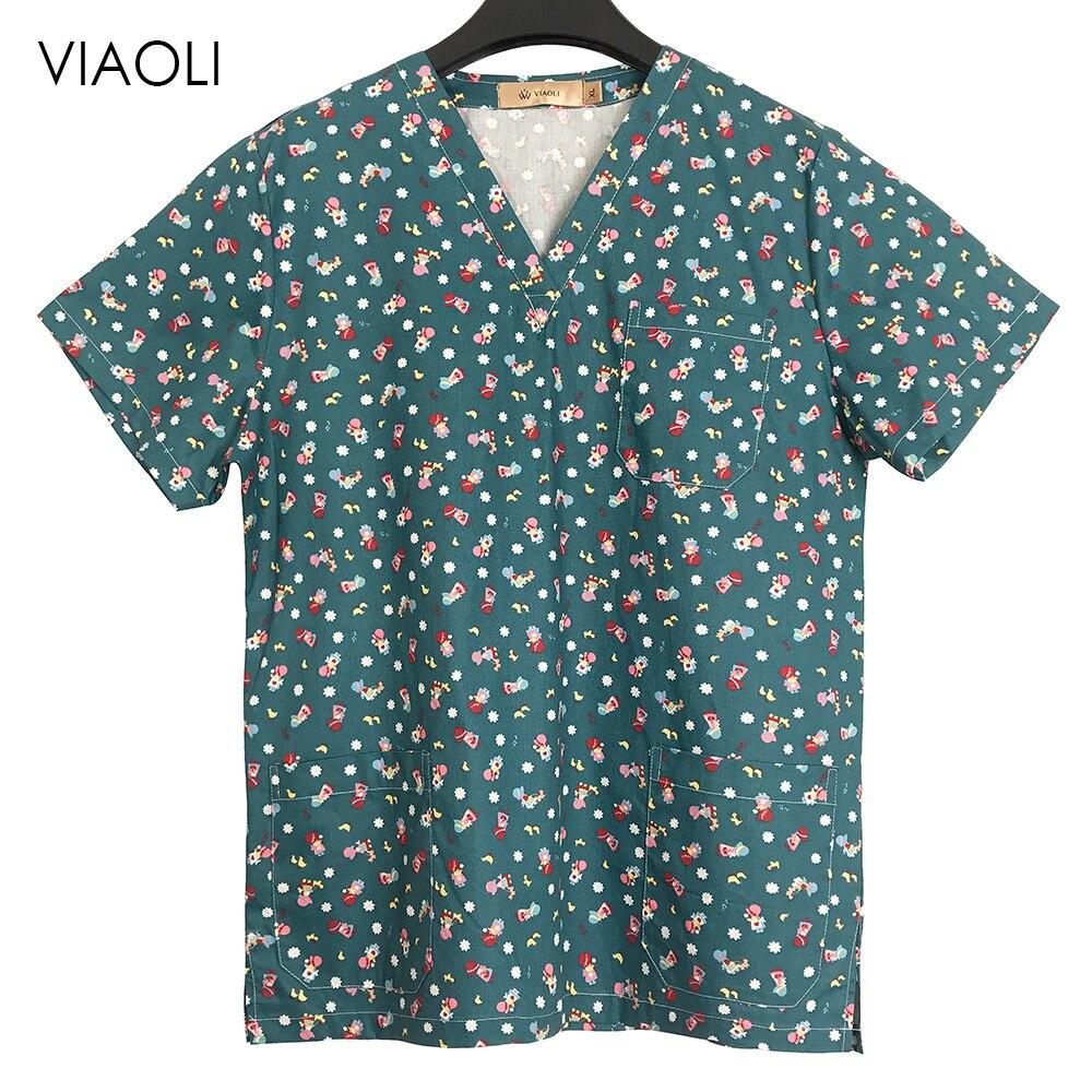 Veterinary Print Cartoon medical clothings for slim fit uniforme enfermera uniformes clinicos mujer dental spa salon workwear