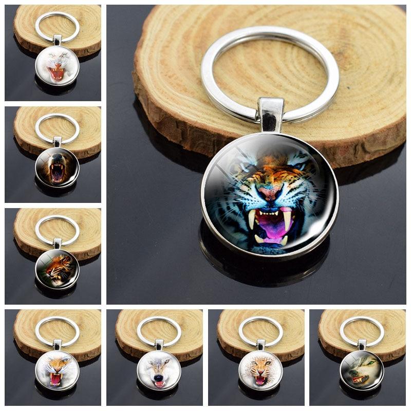 Tigre genial llavero Animal de los hombres monedero llave cadenas de cabujón de cristal de regalo mejor regalo para Amiga