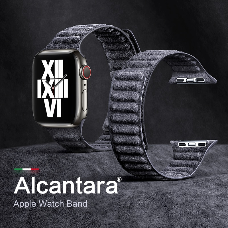 leather loop for apple watch band 44mm 40mm iwatch band 38mm 42mm magnetic watch bracelet for apple watch strap series 3 4 5 6 2 SanCore Alcantara For Apple Watch Strap Magnetic iWatch Series 6 5 4 3 Se For Apple Watch band Loop bracelet 44mm 40mm 42mm 38mm