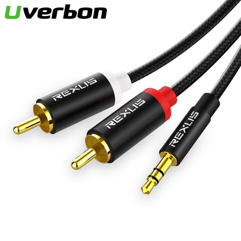 3,5mm a 2RCA Cable Aux estéreo 3,5 Jack RCA Cable divisor de Audio para Mp3 Smartphone TV DVD amplificadores de Audio de teatro en casa de Cable