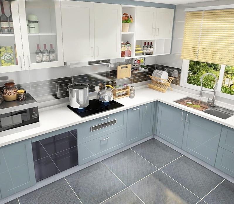 مخصص كامل مطبخ خزانة سطح مضادة الحديثة الحد الأدنى الصغيرة المنزلية على شكل L خزانة حسب الطلب