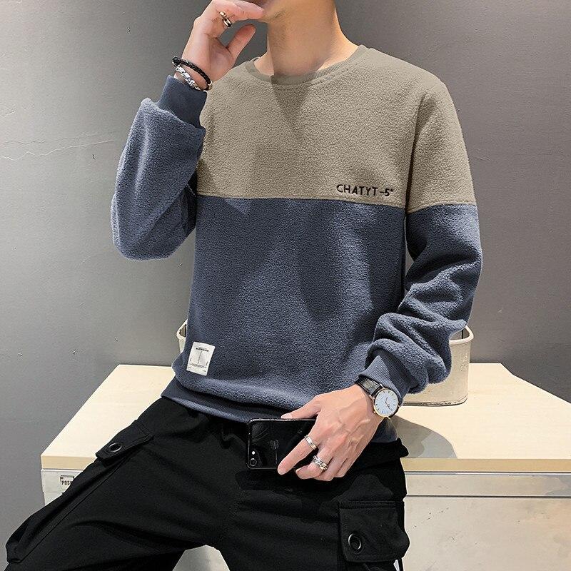 Свитшот мужской контрастный с круглым вырезом, Свободный пуловер с длинным рукавом, молодежная одежда в стиле пэчворк, одежда для отдыха