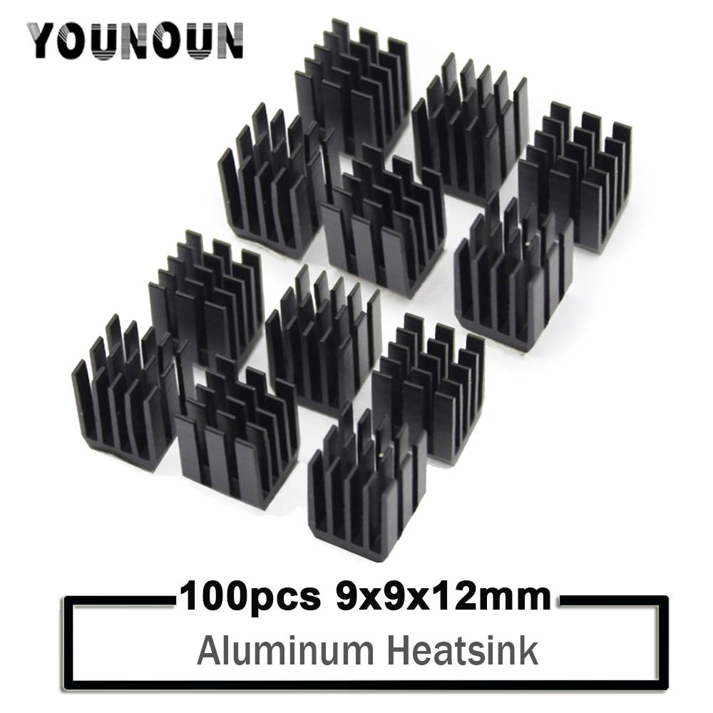 YOUNUON-مشتت حراري ألومنيوم أسود ، 9x9x12 مللي متر ، 100 قطعة ، لرقاقة وحدة المعالجة المركزية GPU ، VGA ، RAM LED ، IC ، المشتت الحراري ، Mos ، أسود