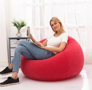 Mini sofa inflatable flocking sofa single lazy sofa chair foldable outdoor leisure sofa bed stool portable sofa home furniture