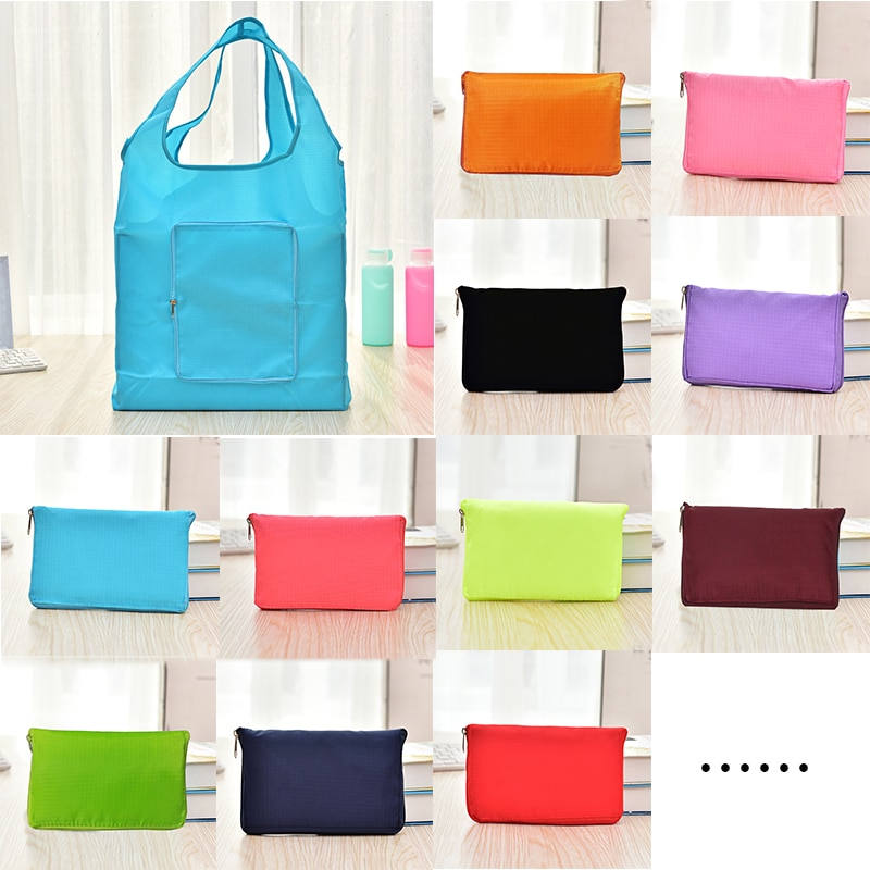 Large Capacity Eco Shopping Bag Oxford Travel Shoulder Tote Handbag Foldable Reusable Solid Zipper Grocery Pouch Storage