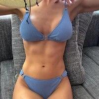 push up bikini 2021 woman swimsuits swimwear women solid color ribbed biquini bathing suits sexy brazilian bikini set beachwear