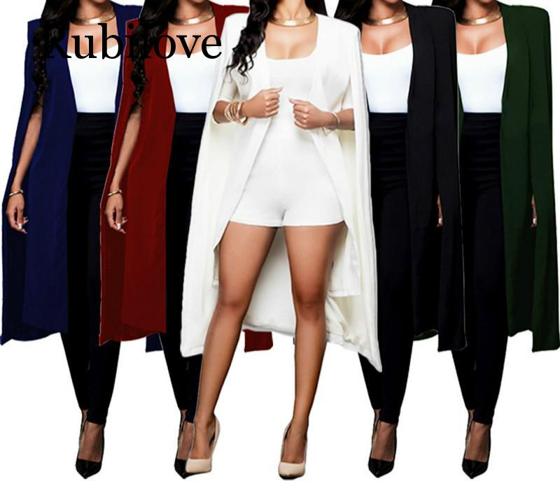 Rubilove 2019, Длинные куртки для женщин, блейзеры, куртки, офисный женский стиль, Женский костюм с длинным рукавом, однотонное повседневное женск...