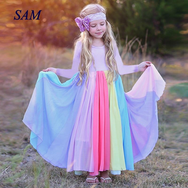 2019 ins niños vestido de otoño e invierno de manga larga red de arco iris vestidos de hilo para niñas princesa empalme vestido de fiesta para niños