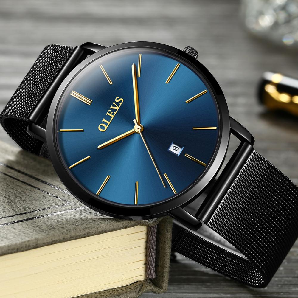 OLEVS Mens Watches Top Brand Luxury Waterproof Ultra Thin Date Clock Male Steel Strap Classic Quartz Watch Men Business Wrist Wa new men watches top brand luxury 50m waterproof ultra thin date clock male steel strap casual quartz watch men wrist sport watch