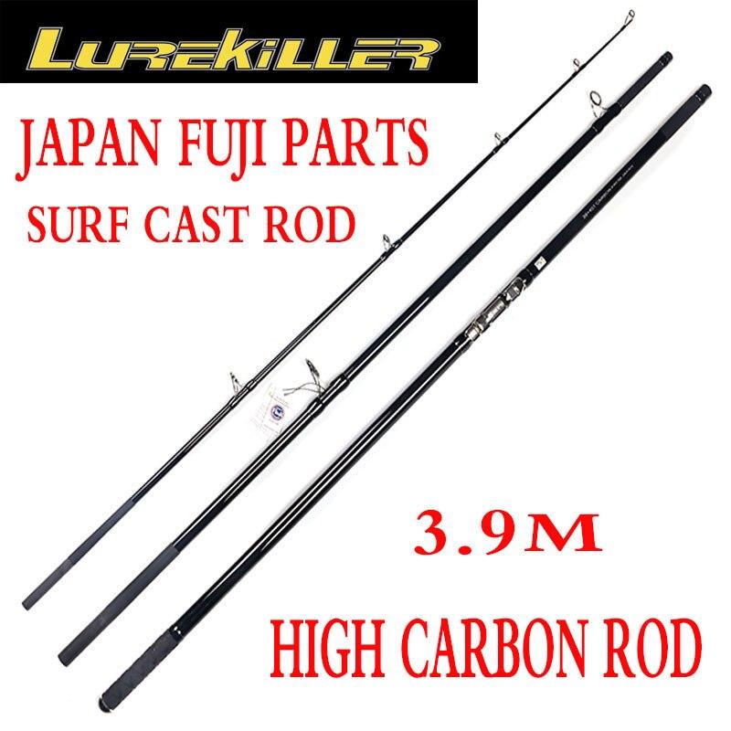 Lurekiller, recién llegado, piezas de Japón Fuji, potente caña de carbono de 3,90 M para Surfcasting, caña de pescar de 200-400g 30kg