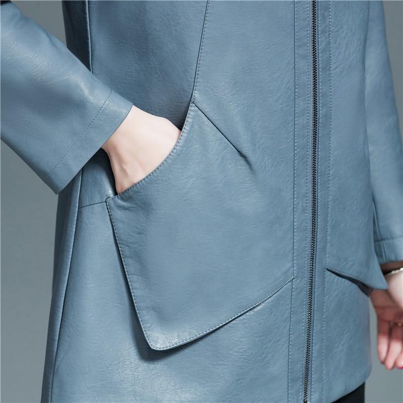 New Womens Elegant Hooded Faux Leather Jackets Ladies Soft PU Leather Basic Zipper Jacket Coat Plus Size 6XL Female Outerwear enlarge