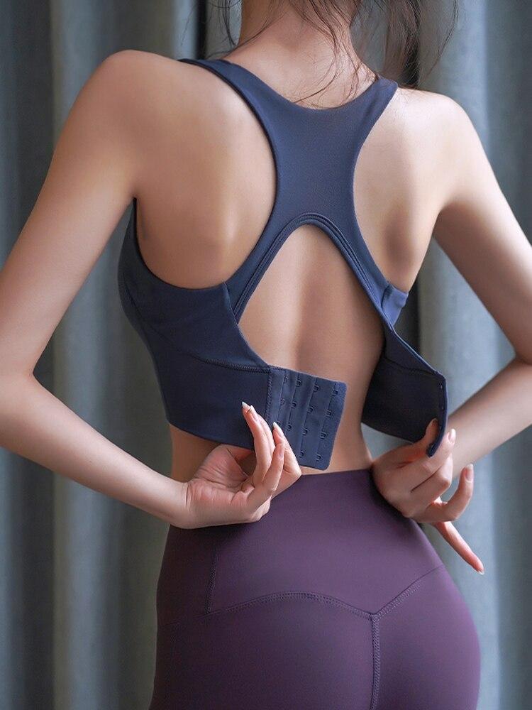 Fitness girl one piece sports underwear Sleep Bra shockproof gathered bra high strength Yoga vest