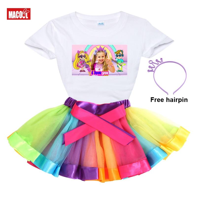 Girl Clothes Set Rainbow Dress Tutu Dress Suit Children Clothing Summer Skirt Kid Clothing Toddler B
