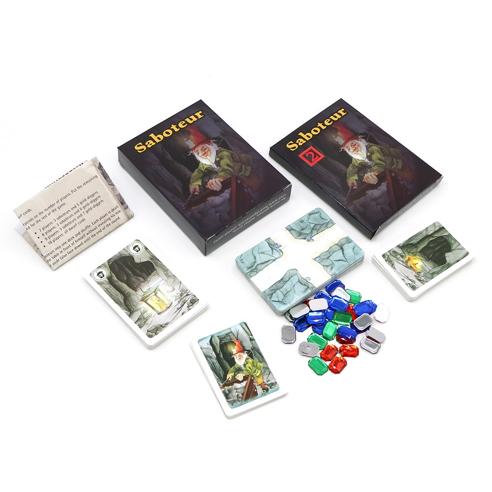 1 + 2 настольных игры Saboteur, полная английская база + удлинитель, карликовый Майнер, забавная семейная вечеринка, карточная игра, бесплатная до...