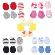 3Pairs Fashion  Anti Scratching Gloves Newborn Protection Face Cotton Scratch Mittens