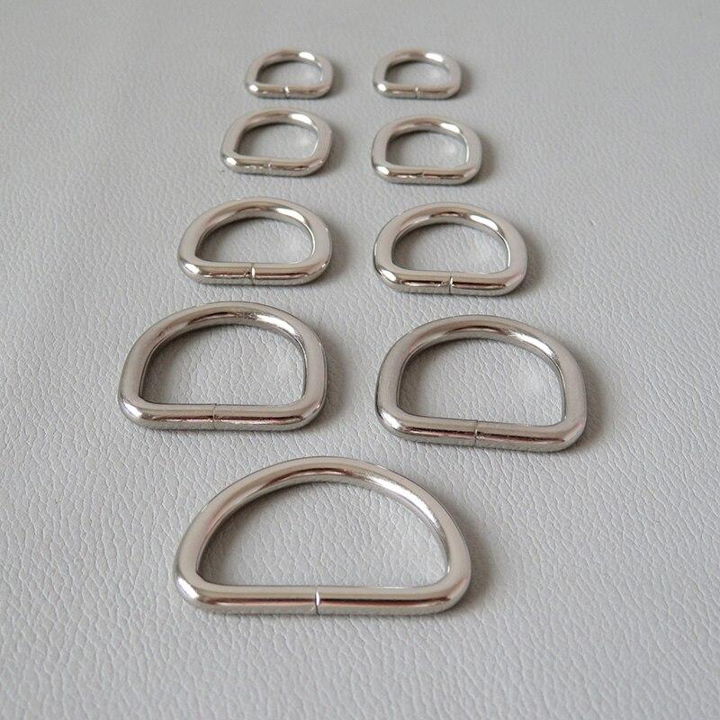Металлический полукруглый ремешок с D-образным кольцом, 10 мм, 12 мм, 15 мм, 20 мм, 25 мм, 32 мм, аксессуар для сумки, рюкзака, ошейника для питомцев, 10 шт.