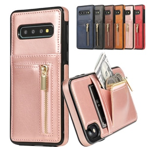 Кожаный чехол-бумажник на молнии для Samsung Galaxy S7 Edge S8 S9 Plus S10 E Note 8 9 10