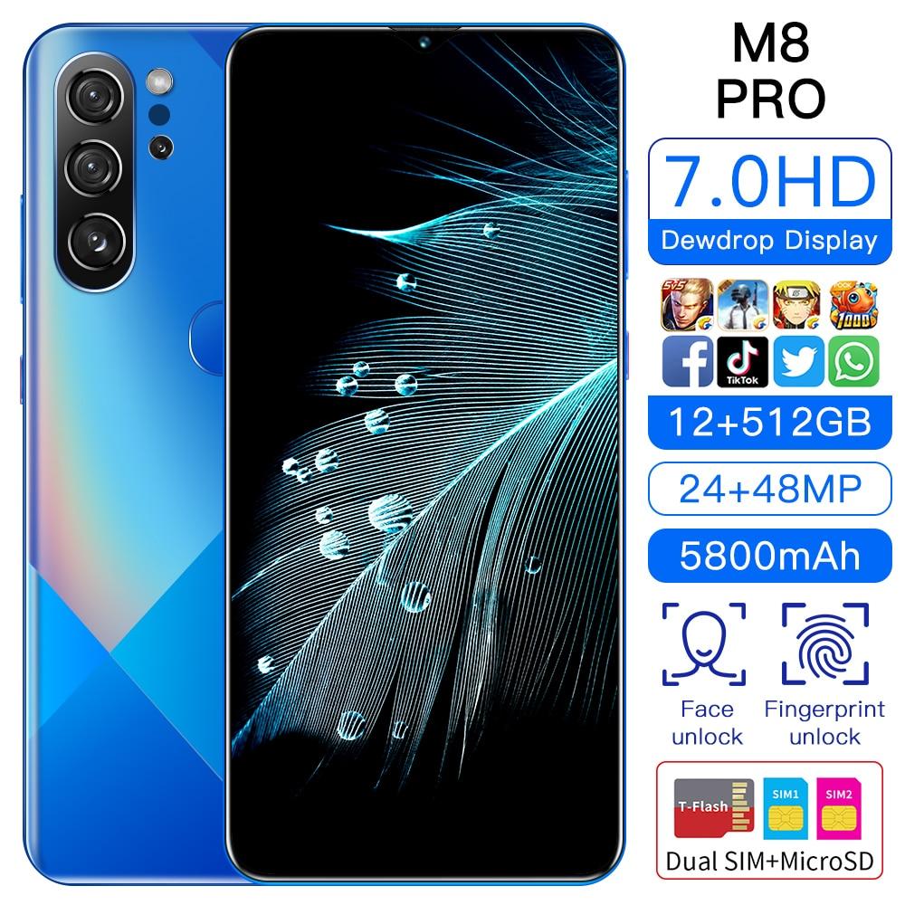 M8 Pro 7.0 بوصة 5800mAh الهاتف الذكي أندرويد 12 + 512gb بصمة معرف هاتف ذكي عالمي 4g lTE 5g 24 + 48 ميجابكسل مزدوجة سيم هواتف محمولة