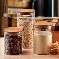 glass jar with bamboo lid sealed canister food storage bottles container storage snacks storage bottles candy storage jars