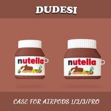 ل AirPods برو حافظة بلوتوث حقيبة سماعة الاذن ل أبل Airpods 2 مضحك ثلاثية الأبعاد Nutella صلصة الشوكولاته الغطاء الواقي مع هوك