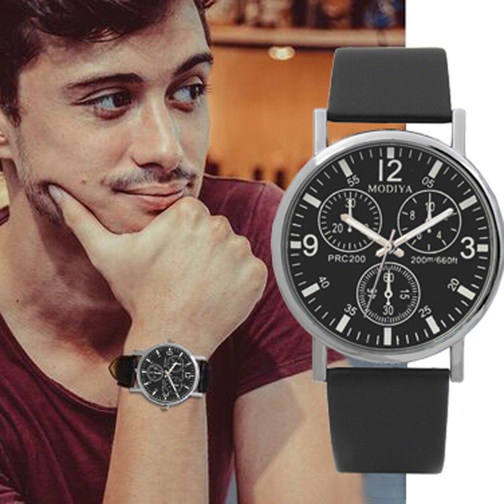 Reloj de pulsera MODIYA 2019 de cristal de Rayo Azul de tres esferas, relojes de negocios de cuarzo para hombre, relojes de pulsera simples, relojes de hombre, Dropship #