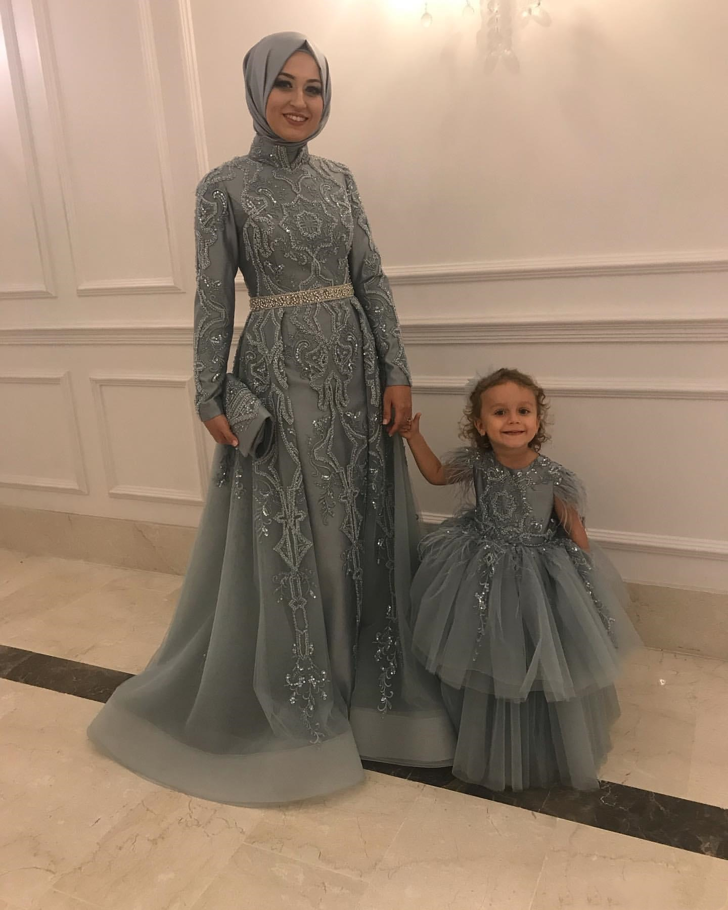 Aso Ebi Arabic Muslim Lace Beaded Evening Dresses silver kaftan Long Sleeves Tulle Formal Party Seco