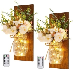 Rustic Wall Lamp Mason Jar Sconces,Hanging Home Decor 2 Set with Remote Control LED Fairy Light Decorative Peony Flower