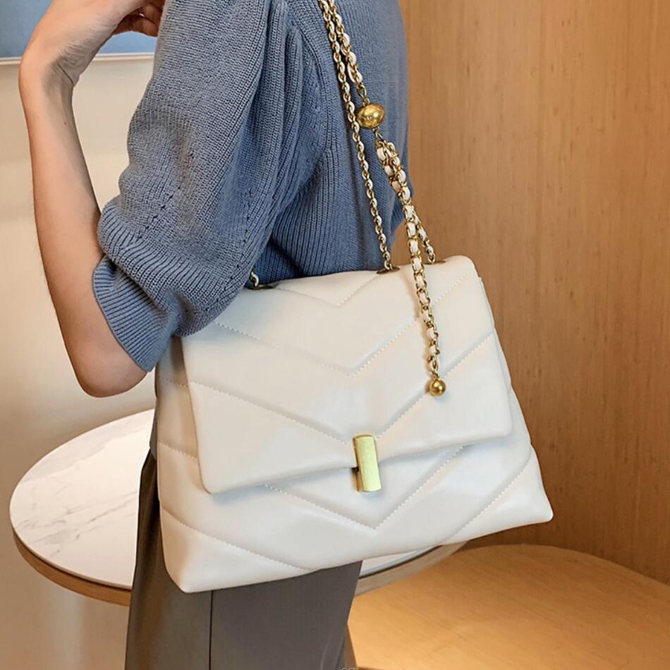 Elegant Female Large Tote bag 2021 Fashion New High quality PU Leather Women's Designer Handbag Chain Shoulder Messenger Bag