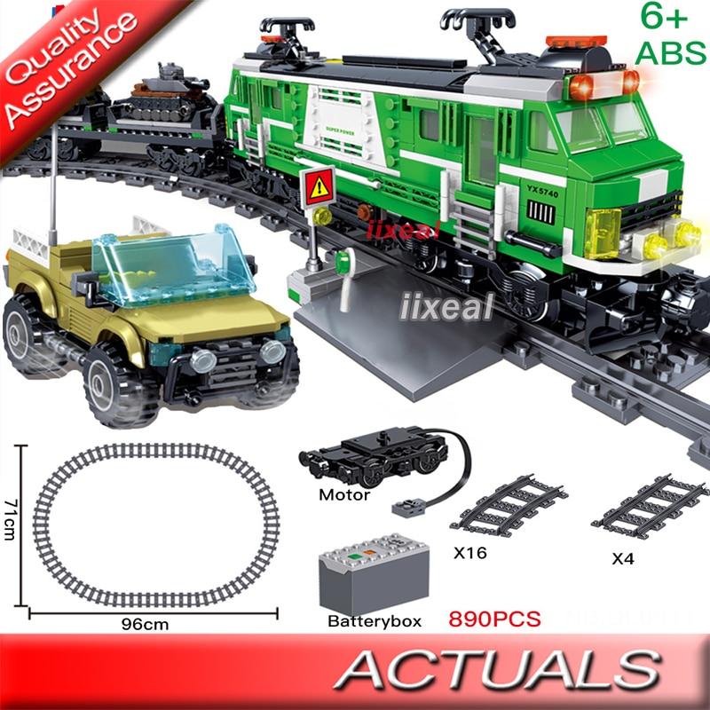 QL0311 Childrens Toy Compatible DIY Electric Train Set Railway Trains Building Blocks Railway Constructor Bricks Gift 890pcs