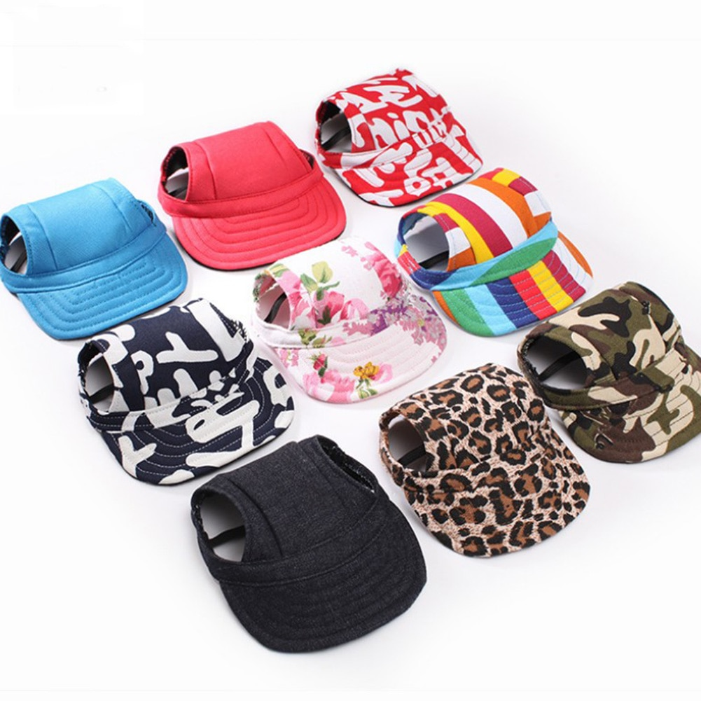 cute Pet fashion solid color Dog Hat Baseball Cap Windproof Travel Sports Sun Hats for Puppy Large P