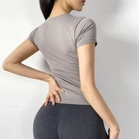 sports yoga short sleeve womens thin crop top breathable fitness clothes workout running quick drying sports t shirt