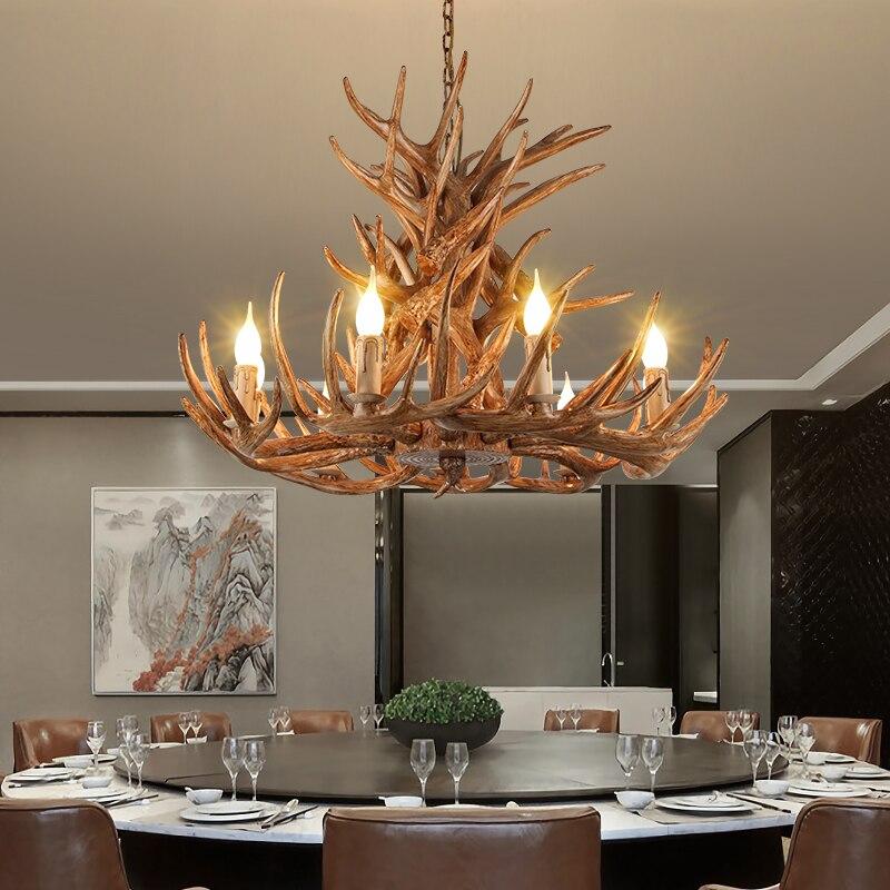 Vintage LOFT LED الثريات السقف الصناعية ثريا داخلية الإضاءة باك الغزلان القرن قرن الوعل Hanglamp الفن ثريا تركب بالسقف