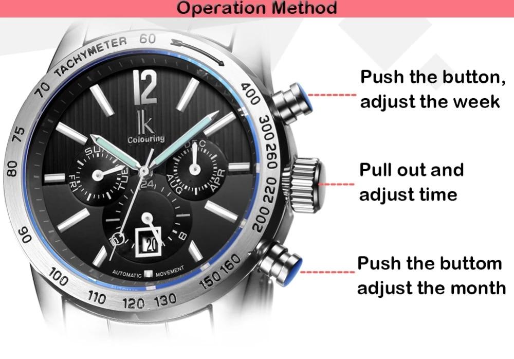 IK brand luxury automatic mechanical men's watch 24-hour calendar luminous silver automatic date all-steel business clock reloje