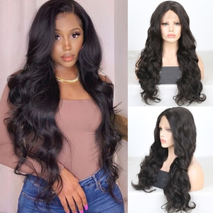 RONGDUOYI Long Natural Body Wave Synthetic Brown Lace Front Daily Use Lace Wigs for Women Heat Fiber Hair Glueless Fashion Wig