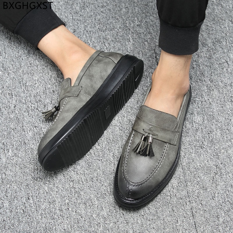Zapatos De cuero marrón para hombre, mocasines italianos, informales, De negocios, con...