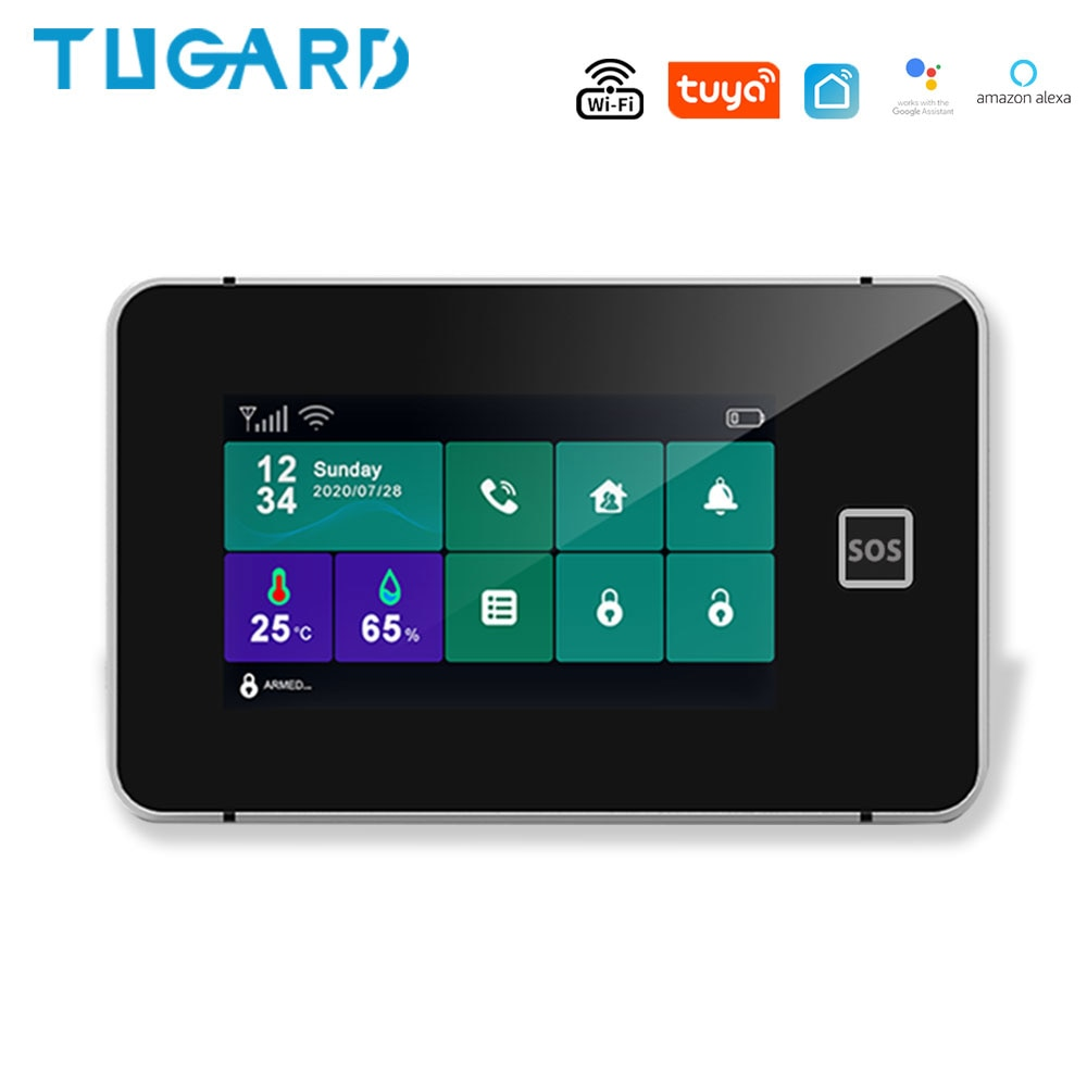 Wifi Tuya App Gsm Sim Home Security Alarm System With Motion Sensor 433MHz GSM Alarm System Sensor kit Compatible Alexa Google