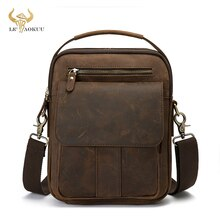 Crazy Horse Leather Male Fashion Casual Design Satchel Crossbody Messenger Strap Bag 10