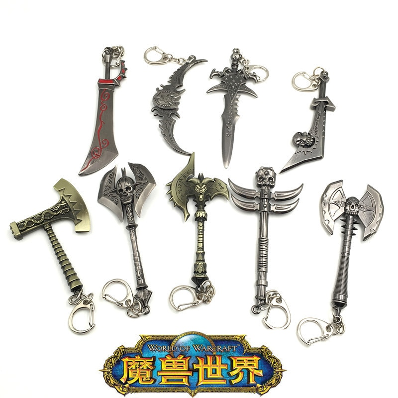 Mundo de Warcraft arma periférica modelo llaveros escarcha dolor Rey León cabeza espada huevo cuchillo colgante para llaveros