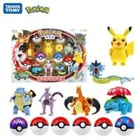 6pcs pokemon toy set pocket monster pikachu action figure elf ball model anime deformation pokeball kawaii kids collect toy gift