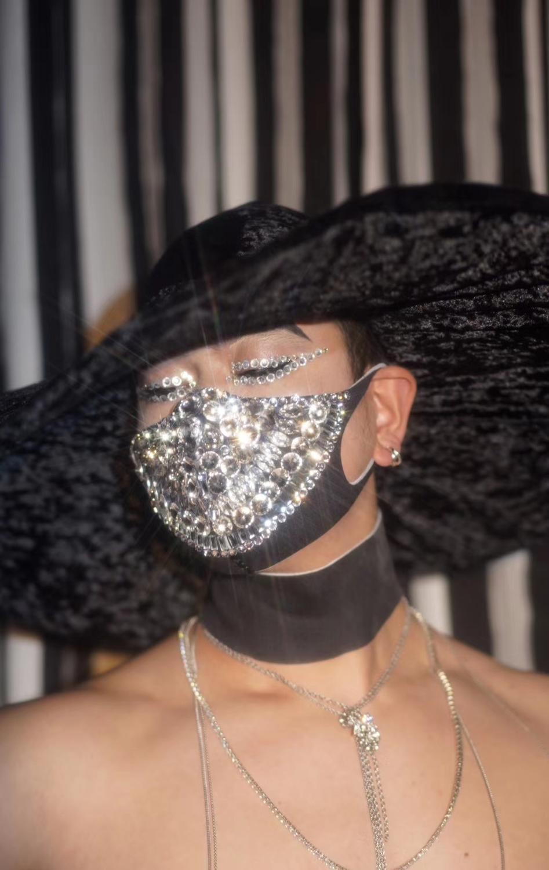 Rhinestone Pearls Masks Women Men Nightclub DJ DS Dancer Crystal Face Decoration Singer Performance Stage Accessories Adornment