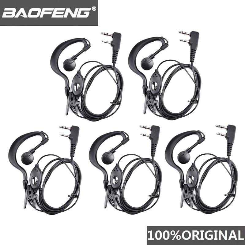5pcs Baofeng UV-5R Headset Ham Radio Earphone Walkie Talkie Woki Toki Headphone PTT B5 B6 Uv-6r F8+ Wln Kd-c1 K Port Earpiece