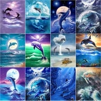 dolphin playing water diamond paintings diy 5d embroidery scenery mosaic cross stitch kit wall art rhinestones pictures decor