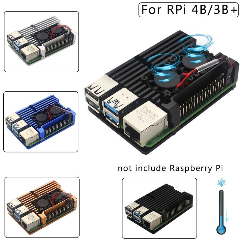 raspberry pi 4 model b acrylic case with cooling fan 32gb sd card 5v 3a power heatsink hdmi for raspberry pi 4b Raspberry Pi 4 4B Case Enclosure CNC Aluminum Cover Heatsink Cooling Fan for Raspberry Pi 4 Model B