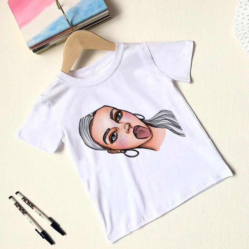 Novedad de verano, camiseta para niños y niñas con estampado divertido, camisetas de para chicas Harajuku a la moda para niños, camisetas cómodas de manga corta con cuello redondo y dibujos animados