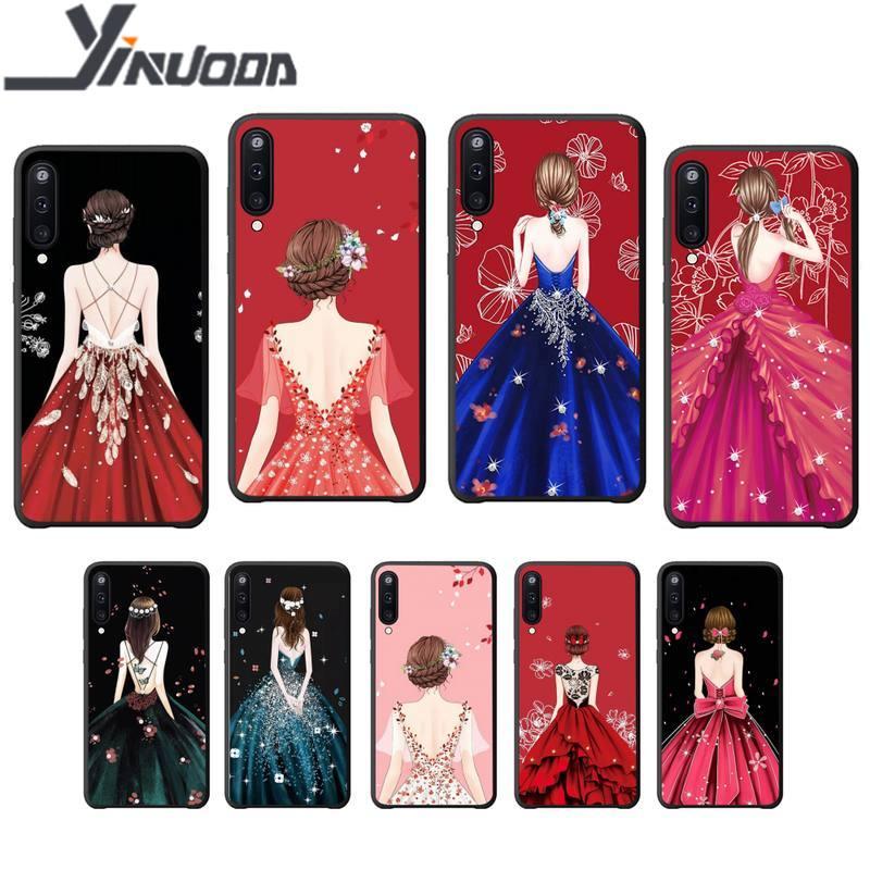 Motirunner vestido menina caso de telefone luxo coque para samsung galaxy a 01 11 20 30 31 40 50 51 70 71 80 81 91 silicone casos coque