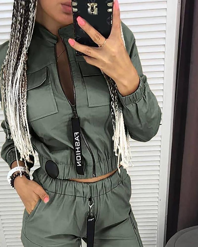 2020 new Women's Clothing Hot Sale Street Casual Slim Spring and Summer Army Green 2 Piece Set