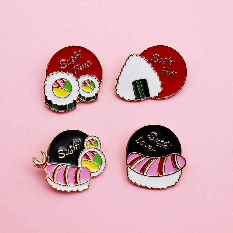 Deliciosa insignia de Sushi de atún, bonita bola de arroz, broche esmaltado de Metal Sashimi, disfraz de pie, mochila, accesorios de joyería, regalo